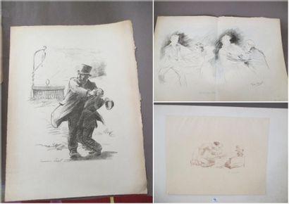 Lot de trois lithographies: - HEIDBRINK Scènes...