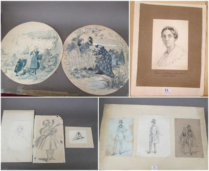 Lot de 9 dessins: - Ecole du XIXème siècle...