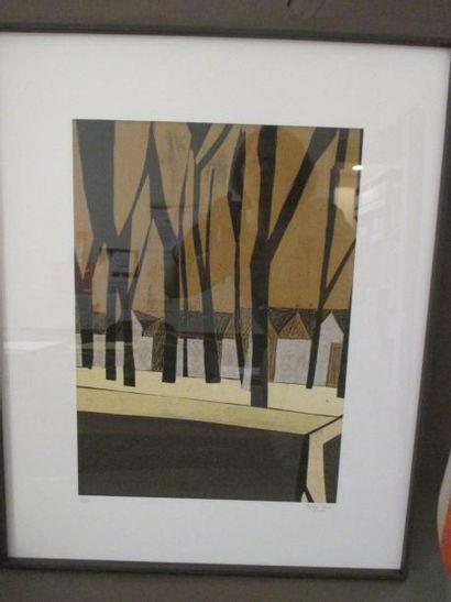 Composition Lithographie n°4375, signée en...
