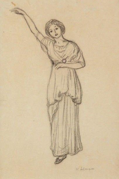 Henri LEBASQUE (1965-1937) Danse antique Fusain et crayon rose, signé en bas à droite....