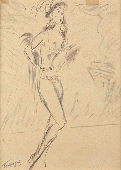 Louis TOUCHAGUES (1893-1974) Danseuse Crayon et encre, signé en bas à gauche. 26...
