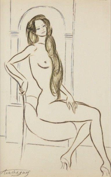 Louis TOUCHAGUES (1893-1974) Nu au fauteuil Encre et rehauts d'aquarelle, signée...