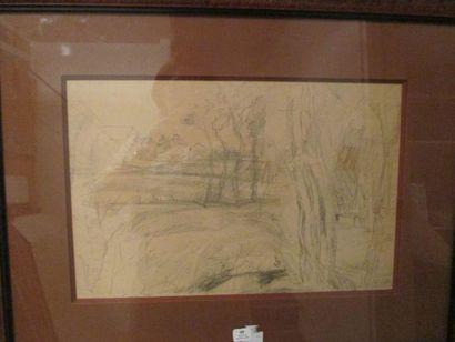 Jean DUFY (1888-1964) Paysage de campagne Mine de plomb sur papier Porte le cachet...