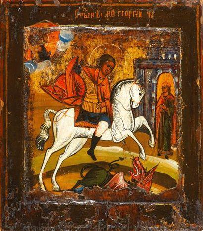 Saint Georges  Icône d'origine russe, Vieux...