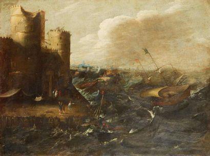 ECOLE ITALIENNE du XVIIème siècle  Scène...
