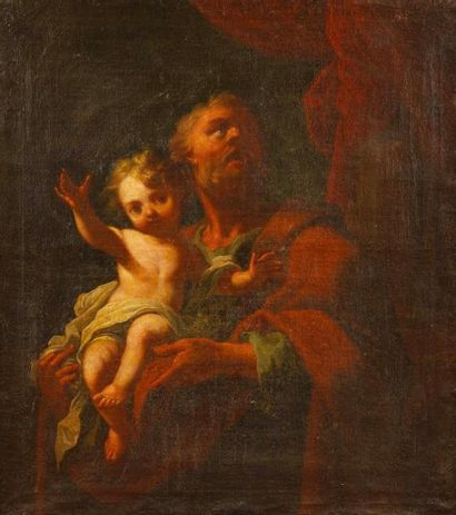 ECOLE ITALIENNE du XVIIIe siècle  Saint Joseph...