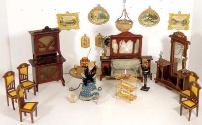 Cabinet de curiosité avec collection de peintures...