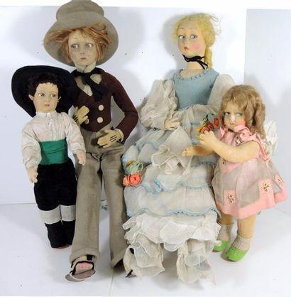 Famille LENCI, composée d'un couple, têtes...