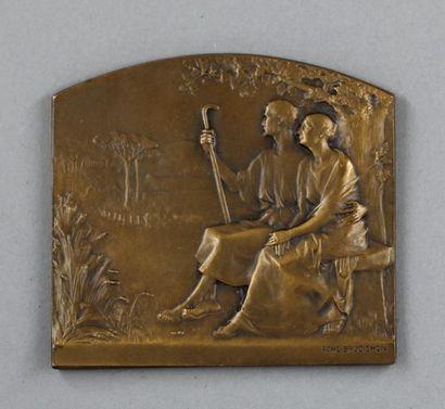 Plaque en bronze signée BAUDICHON