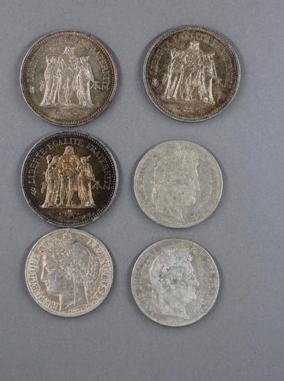 Trois pièces de 50 FF Hercule et trois pièces...