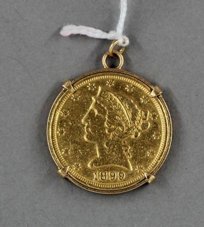 Pièce de 5 dollars en or 1899 (montée)  poids...