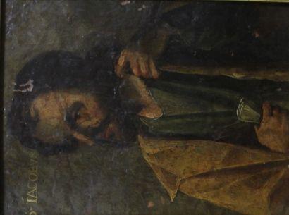 Ecole du XVIIème s.  Jacob  Huile sur cuivre...