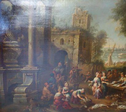 ECOLE FLAMANDE du XVIIIe siècle Marché aux...