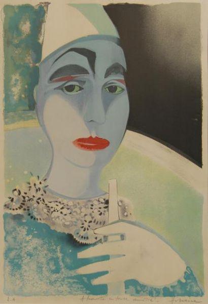 Camille HILAIRE (1916-2004)  Clown à la flûte...