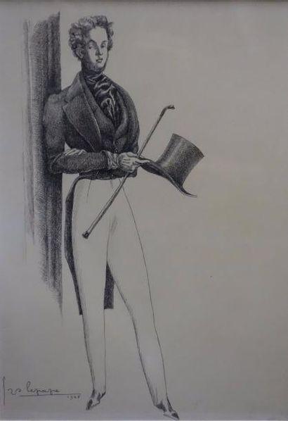 Serge LEPAPE Dandy, 1948 Pointe sèche sur...