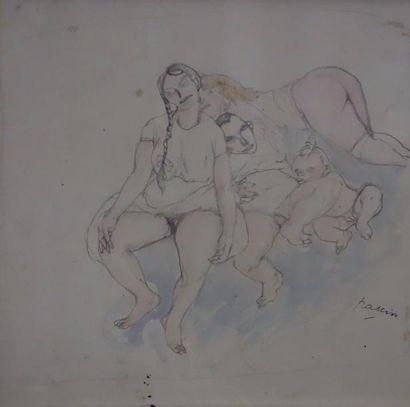 Jules PASCIN (1885-1930)  Nus avec bébé  Mine...