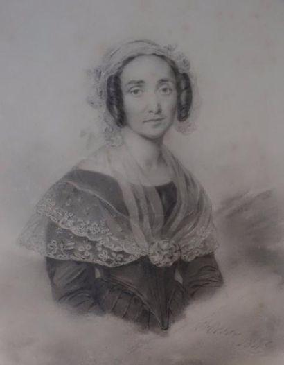 Ecole du XIXème s.  Femme à la mantille  Mine...