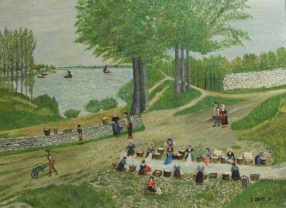 E.BRAY  lavoir breton  Huile sur toile signée...