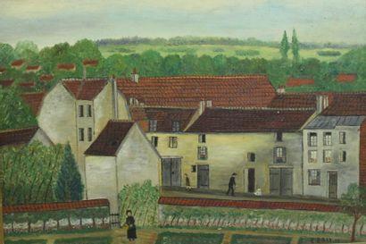 E.BRAY  Vieille rue à Pontoise  Huile sur...