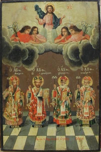 Icône représentant des saints surmontés d'un...