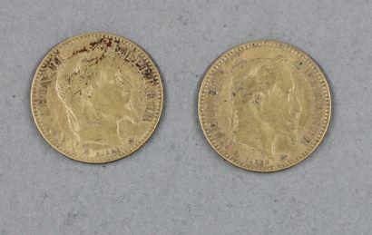 *Deux pièces de 10 FF en or 1865, 1867