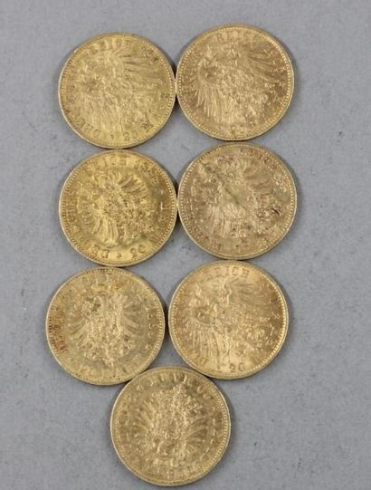 *Sept pièces de 20 Reichmark en or 1873,...