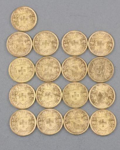 *Dix sept pièces de 20 F Suisse en or