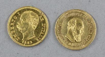 *Une pièce de 5 roubles 1888 en or et une...