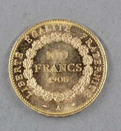 *Une pièce de 100 FF 1905 en or