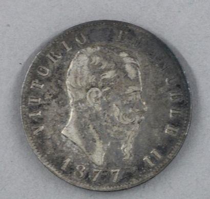 Une pièce de 5 lire en argent 1877