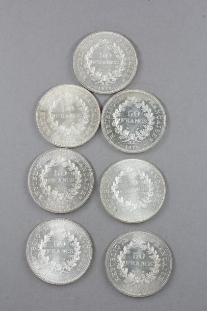 Sept pièces de 50 FF Hercule en argent