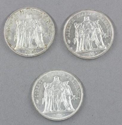 Trois pièces de 10 FF Hercule en argent
