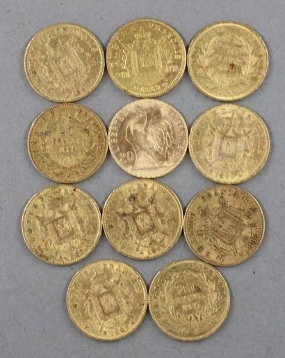 *Onze pièces de 20 FF en or