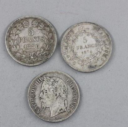 Trois pièces de 5 FF 1836, 1868, 1874 en...
