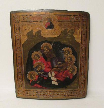Les Sept Dormants d'Éphèse.  Icône russe,...