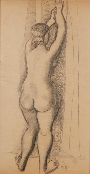 Louis LATAPIE (1891-1972)  Nu de dos  Crayon....