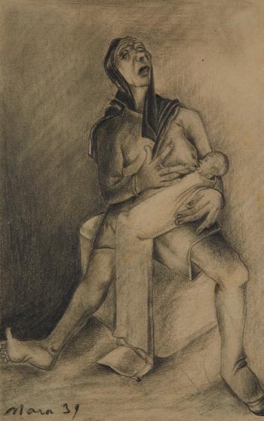 MARA-RUCKI (né en 1920)  Maternité  Crayon....