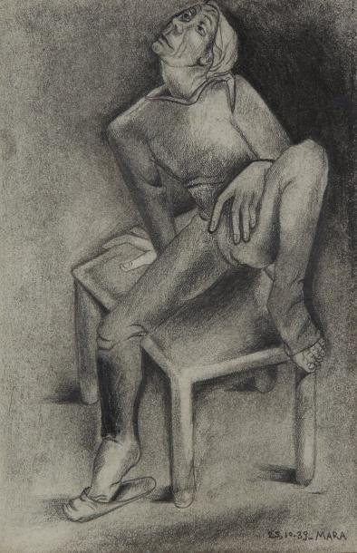 MARA-RUCKI (né en 1920)  Femme assise  Crayon....