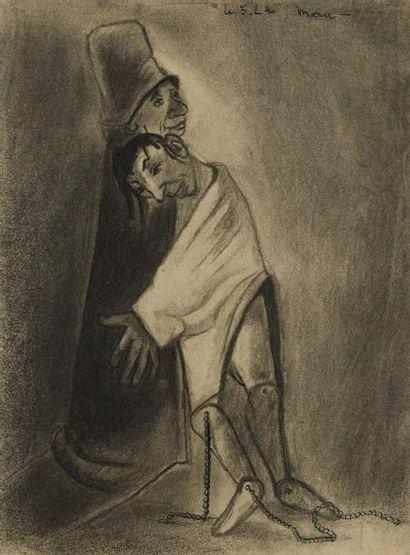 MARA-RUCKI (né en 1920)  Le calin (?)  Crayon...