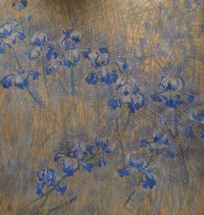 Eric BRIX (né en 1952)  Les fleurs bleus...