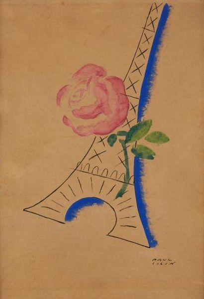 Paul COLIN (1892-1985)  Rose et Tour Eiffel...