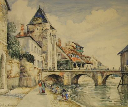 FRANK WILL (1900-1951)  Morêt sur Loing  Aquarelle...