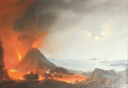 Ecole napolitaine du XIXe siècle L'Eruption...