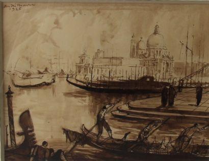André MAIRE (1898-1984)  Gondoles à Venise...