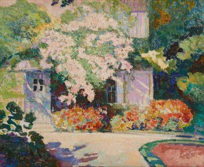 Victor CHARRETON (1864-1936)  La Glycine sur la maison  Huile sur toile.  Signée...