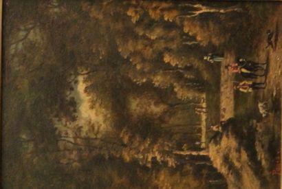 PAGES  Chemin dans les bois  Huile sur cuivre...