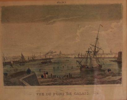 *Huit gravures : vues de port et plan de...