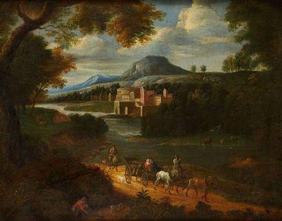 Ecole flamande du XVIIème siècle Voyageurs...