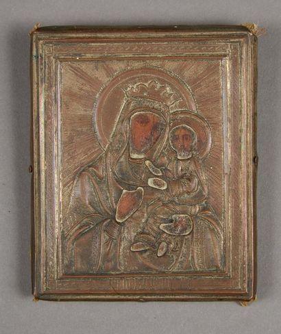 La Vierge Hodighitria Icône de voyage, recouverte...