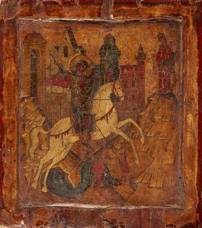 Saint Georges terrassant le dragon Polychromie...